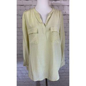 Joie 100% Silk Chartreuse Print Blouse Size M